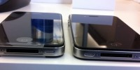 iPhone 4S on left and Verision iPhone 4 on bottom edges